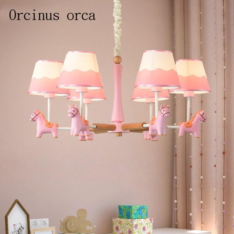 US $198.0 |Cartoon creation horse chandelier boys and girls bedroom  Princess Room children\'s room modern simple animal pendant lamp-in Pendant  Lights ...