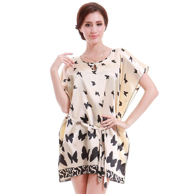 Nightgowns Sleepshirts 2018 Plus Size Silk Lady Sleepwear Dressing Gown Female Home Brand Bathrobe AD440