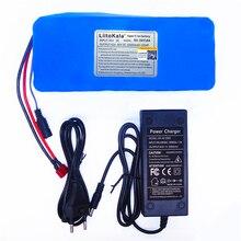 LiitoKala 36v 42V ליתיום סוללה 10ah ליתיום יון 18650V 10000 mAh 10s4p bms גדול קיבולת חשמלי אופניים מטען