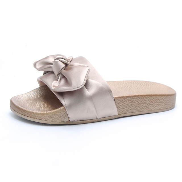 Women Slippers Silk Bow Slides Summer Beach Shoes Woman No Fur Slippers  Flat Heels Flip Flops 624b0df38