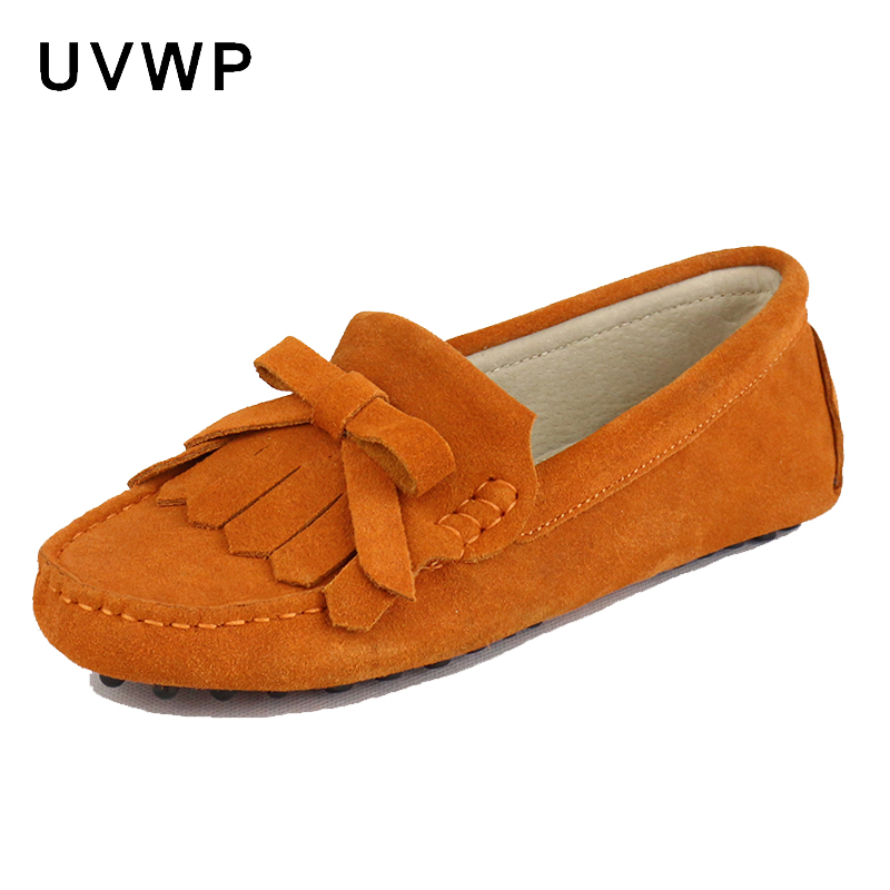Shoes Flats Moccasins Women Genuine-Leather Loafers Soft Fashion Casual Driving Lady