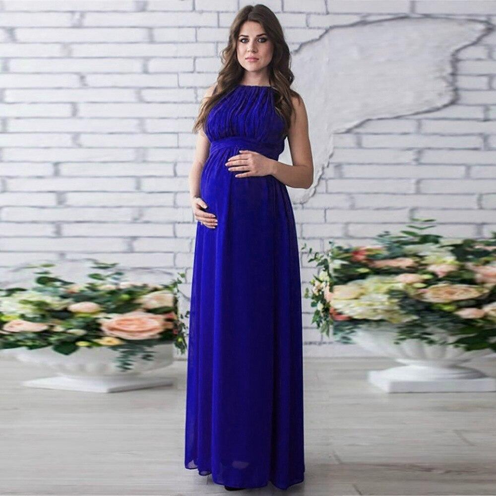 Floor length chiffon women maternity dresses solid high waist mommy ...