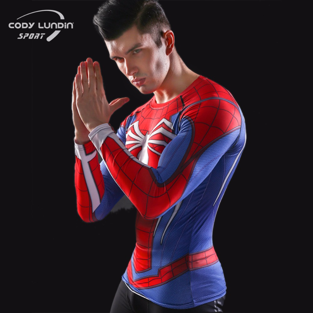 Raglan Sleeves Spiderman 3D Printed   T     Shirts   Men's Compression   Shirts   2017 NEW Crossfit Men's Tops Fitness BodyBuilding Clothing