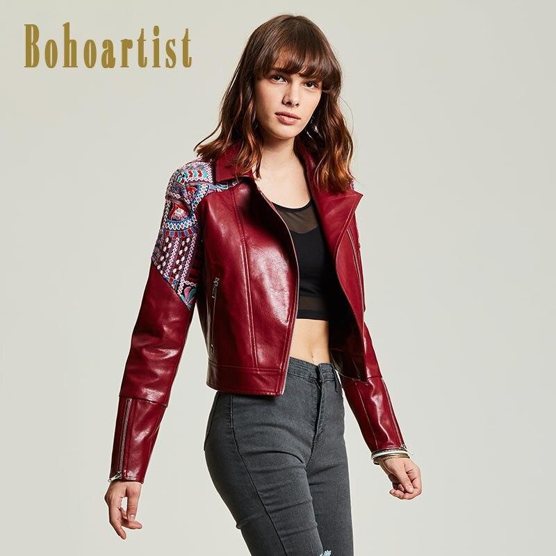 Bohoartist Women Top Leather Clothing Lapel Wrapped Coat Embroidery Boho Fashion Style Folk Custom Burgundy Warmly Short Coats