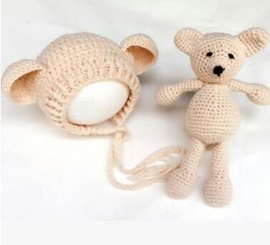 Newborn baby hat sets Baby Boy Girl Hat,Teddy Bear Hat, Crochet Teddy Bear Hat, Mini Teddy Bear, Photography Prop 4 colors