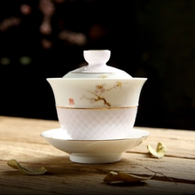 Handpainted Kung Fu Tea Set Chinese Hand Made Ceramic Gaiwan High Quality White Porcelain Cup Portable Travel Bowl