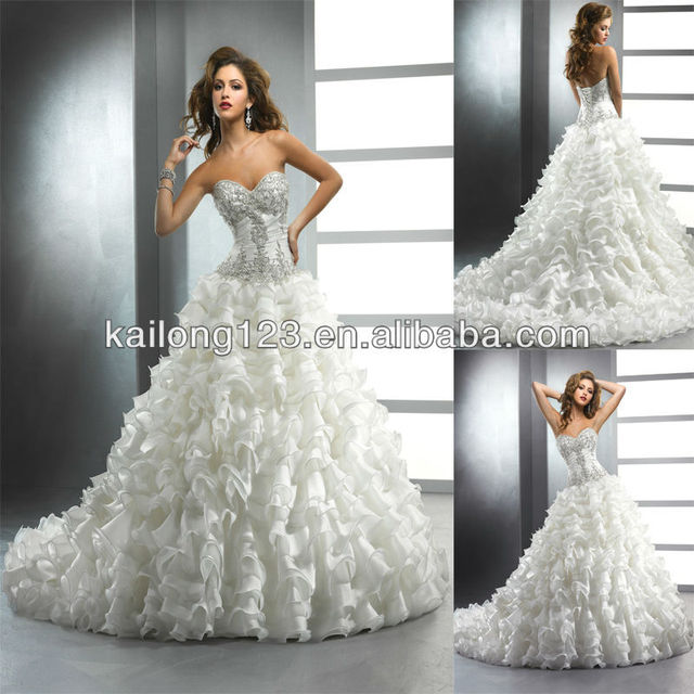 Amazing Sweetheart Full Ball Gown Layers Skirt Chapel Train Lique Beaded Crystal Bodice Organza Corset Bridal