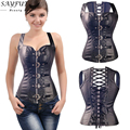 X Spiral Steel Boned Black Zipper PU Faux Leather Steampunk Waist Trainer Corsets And Bustiers Plus Size S M L XL-6XL