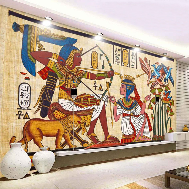 Classic Retro Egyptian Pattern Non woven Wallpaper Bar KTV