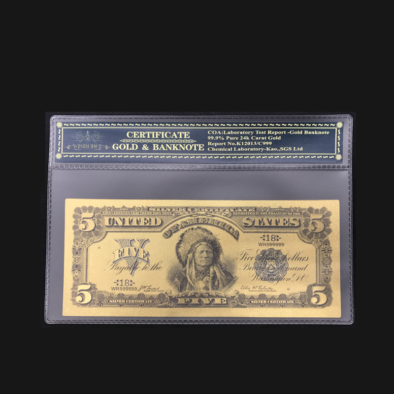 America Bankntoe 1899 USD 5 Dollars Gold Foil Plated United States Banknotes Valued Collection Souvenir with Free COA Frame