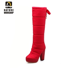 Nature Worship New Fashion High Square Heels Women Shoes Down Patent Leather Winter Boots Plush Warm Knee High Boots Big Size 40