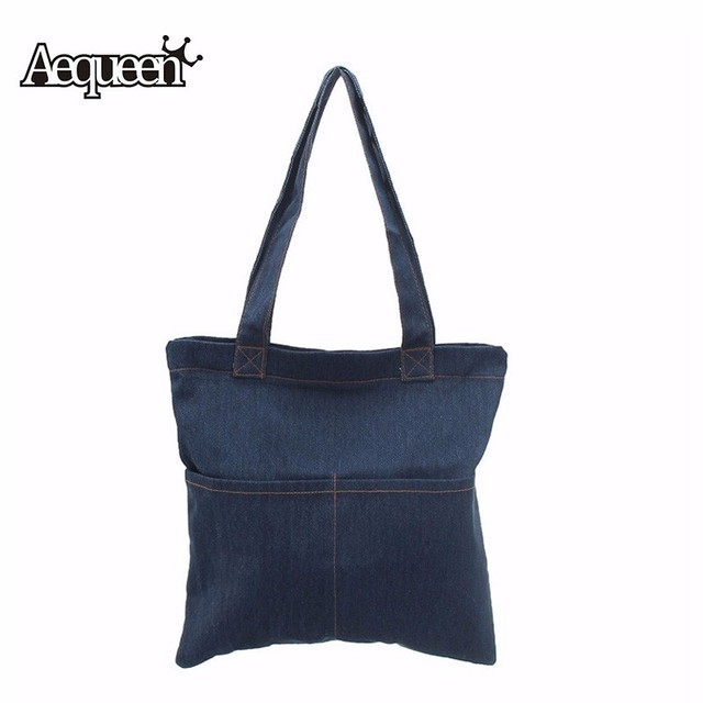 Women Denim Tote Bag Vintage Jeans Handbags Casual Blue Fabric Plain Handle Front Pockets Ping Book