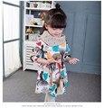 2016 nova floresta Europeia pequeno animal meninas desgaste de manga comprida vestido da menina roupa do bebê meninas vestido