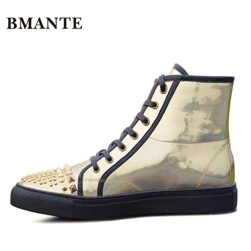 Gold Silver holographic leather Casual Hip hop rock male boot high top with rivet shoe hightop Footwear Tenis gym Bootie for men