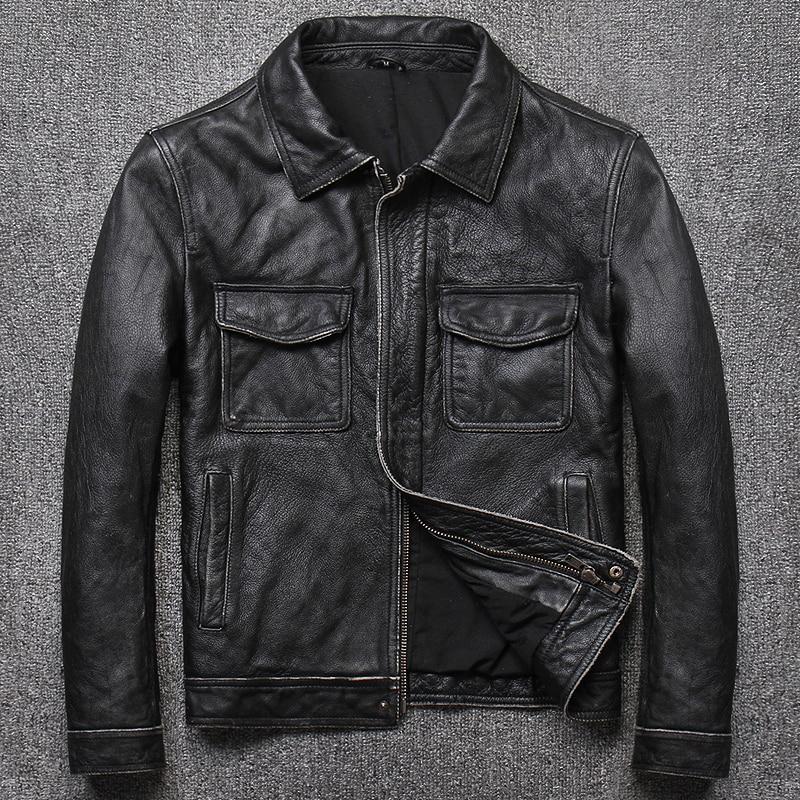 Beliebte Marke 2019 Mode Rindsleder Motorrad Biker Kleidung Echtem Leder Jacke Männer Vintage Schwarz Jugend Casual Slim Fit Echt Leder Mantel