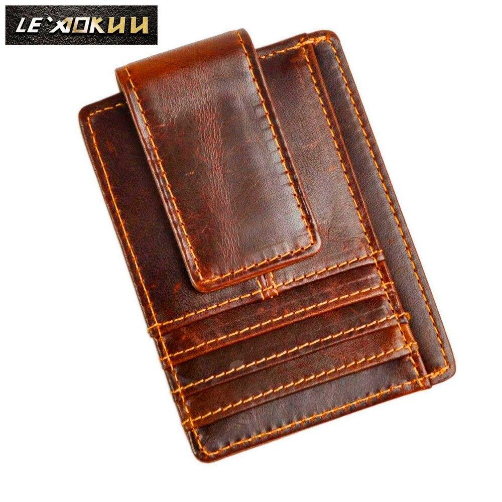 Bovins Hommes mâle en cuir Véritable Carte de Crédit de Trésorerie Porte-Projet de Loi aimant Money Clip Slim Mini Handy Portefeuille Poche Avant Bourse 1015