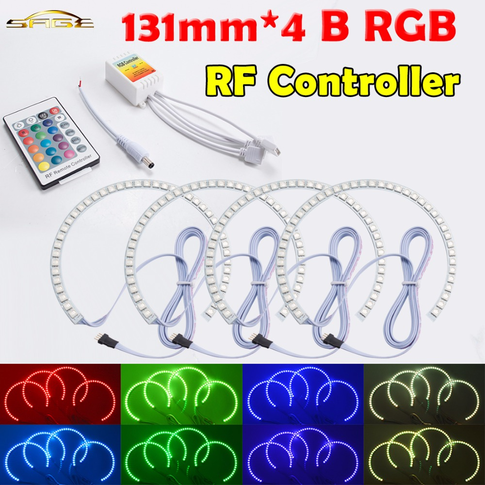 flytop RF Controller 4x131mm B RGB LED Angel Eyes Headlight Multi-color with Halo Ring Remote Control for BMW E36 E39 E46 for bmw e46 3 series non projector rgb led angel eyes ring 5050smd 2x131mm 2x 145mm color changing headlight angel eyes