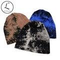 GZHILOVINGL Unisex Knit Beanie Sombreros Para Los Hombres Slouchy Bosque Azul de Algodón Poliéster Tinta Sombrero Mujeres Piles Skullies Hip-Hop Cap 70225