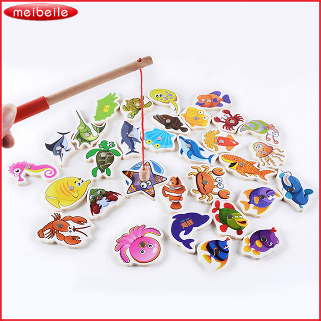 15 off wooden fishing toys magnet set fish and fishing rod kids practising toy sea world for. Black Bedroom Furniture Sets. Home Design Ideas