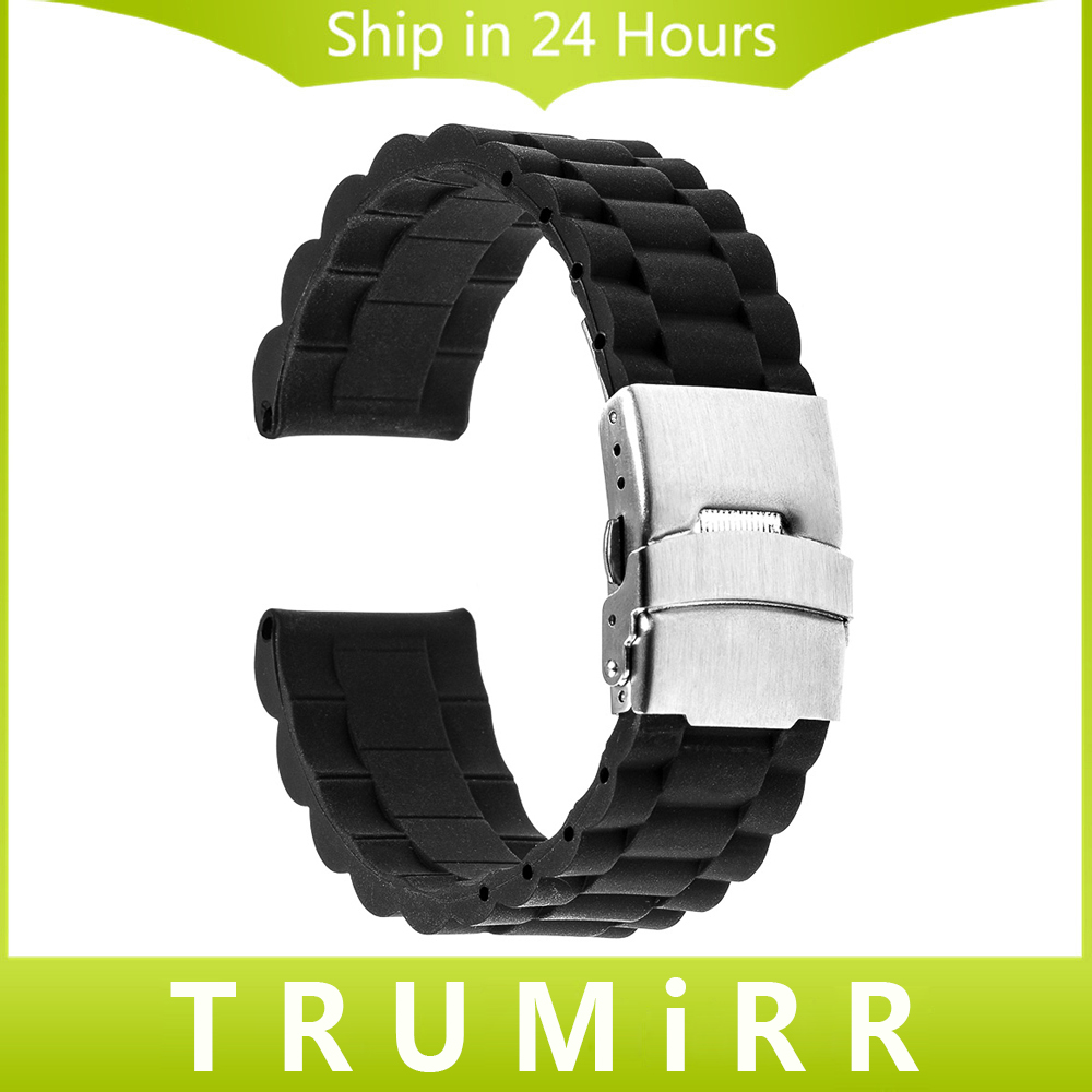 18mm 20mm 22mm 24mm Silicone Rubber Watchband Universal Watch Band Resin Bracelet Stainless Steel Clasp Buckle Strap Black ms silicone watchband black diver watch band rubber watch strap with brushed stainless steel buckle clasp 20mm 22mm watch strap