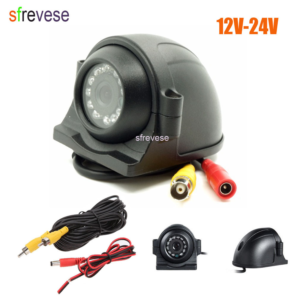 12 LED Side Car Rear View CCD Reversing Backup Camera For Truck Bus Monitor + 5m Cable 12V-24V