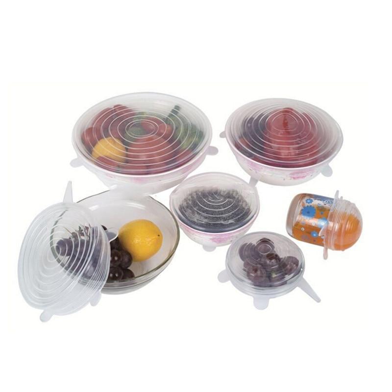6 unids/set tapas del estiramiento del silicón cubierta cocina ...