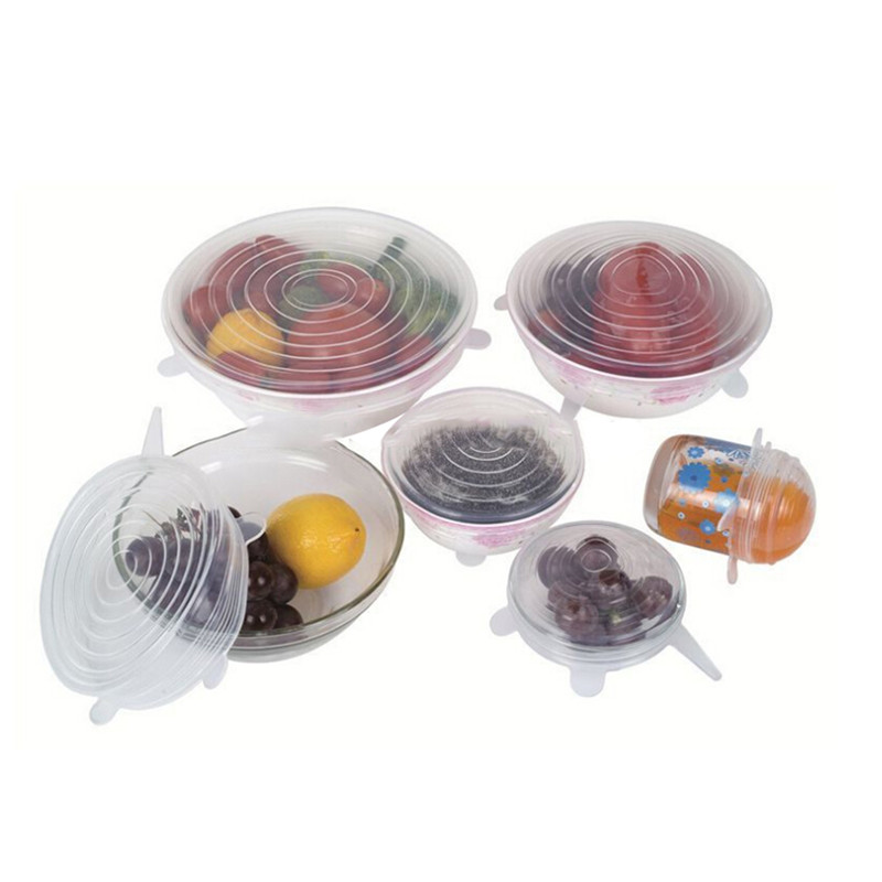 6PCS/Set Silicone Stretch Lids Cover Kitchen Picnic Outdoor Food Preservation Dinner Table Stretchable Multi-Purpose Pot Lid