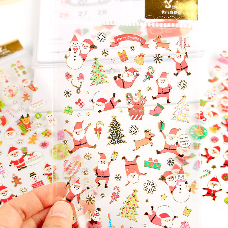 1 Sheet God Foil Merry Christmas Santa Claus DIY Stickers Decorative Scrapbooking Diary Album Stick Label