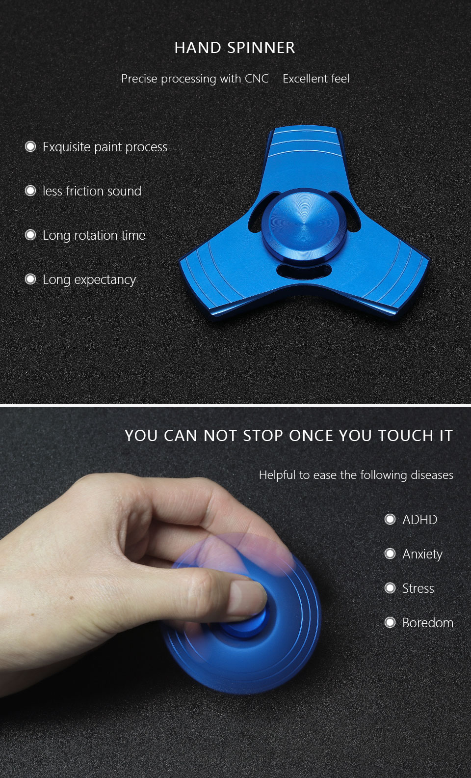 Metal Hand Spinner Aluminium Alloy Fine Craft High Speed Low Noise Crescent Tri Bar Handspinner Fidget Aeproduct