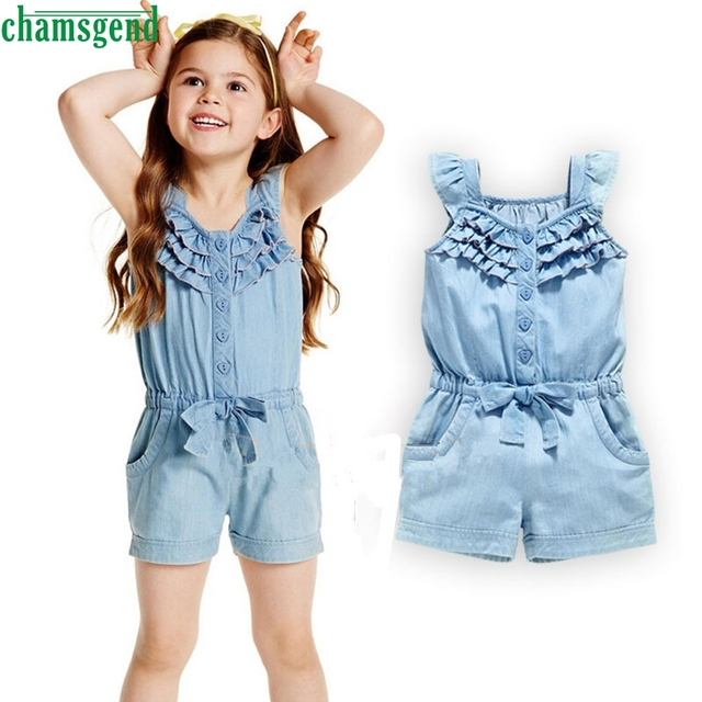 8c34ee83f8515 2018 cute Blue Toddler Baby Kids Girls Denim Romper Bow Solid Sleeveless Jumpsuit  Clothes Outfit Sunsuit P30 baby clothes