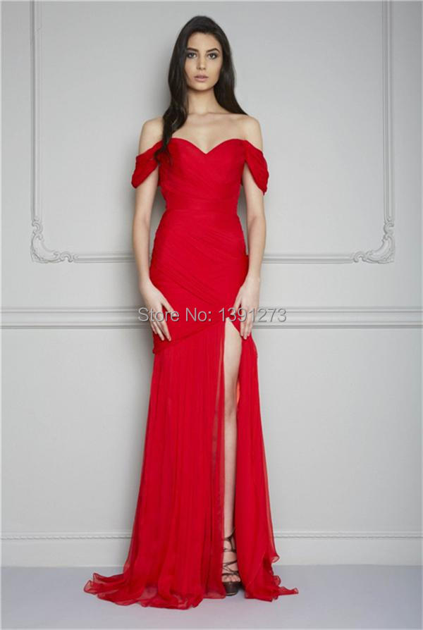 73ea467da2 Sexy A-Line Off-Shoulder Sweetheart Neckline Chiffon Evening Dresses with  Ruched Bodice and Split Side Detail Red Prom Gowns