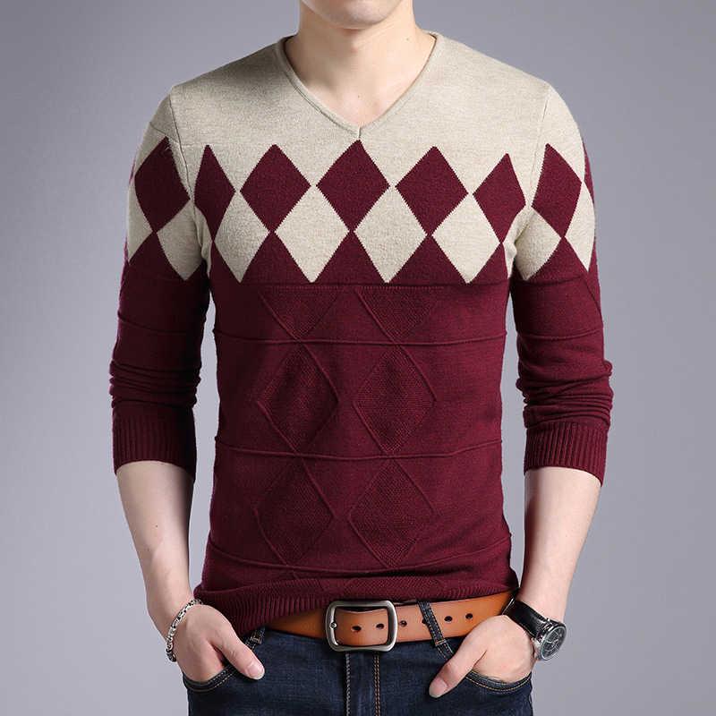 Dimusi 가을 겨울 남성 풀오버 스웨터 남성 터틀넥 캐주얼 v 넥 스웨터 남성 슬림 피트 니트 풀오버 의류 3xl
