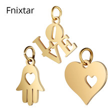 Fnixtar Gold Color Heart Love Metal Pendant Charm for Jewelry Bracelet Making DIY Handmade Stainless Steel Charms 5pcs/lot(China)