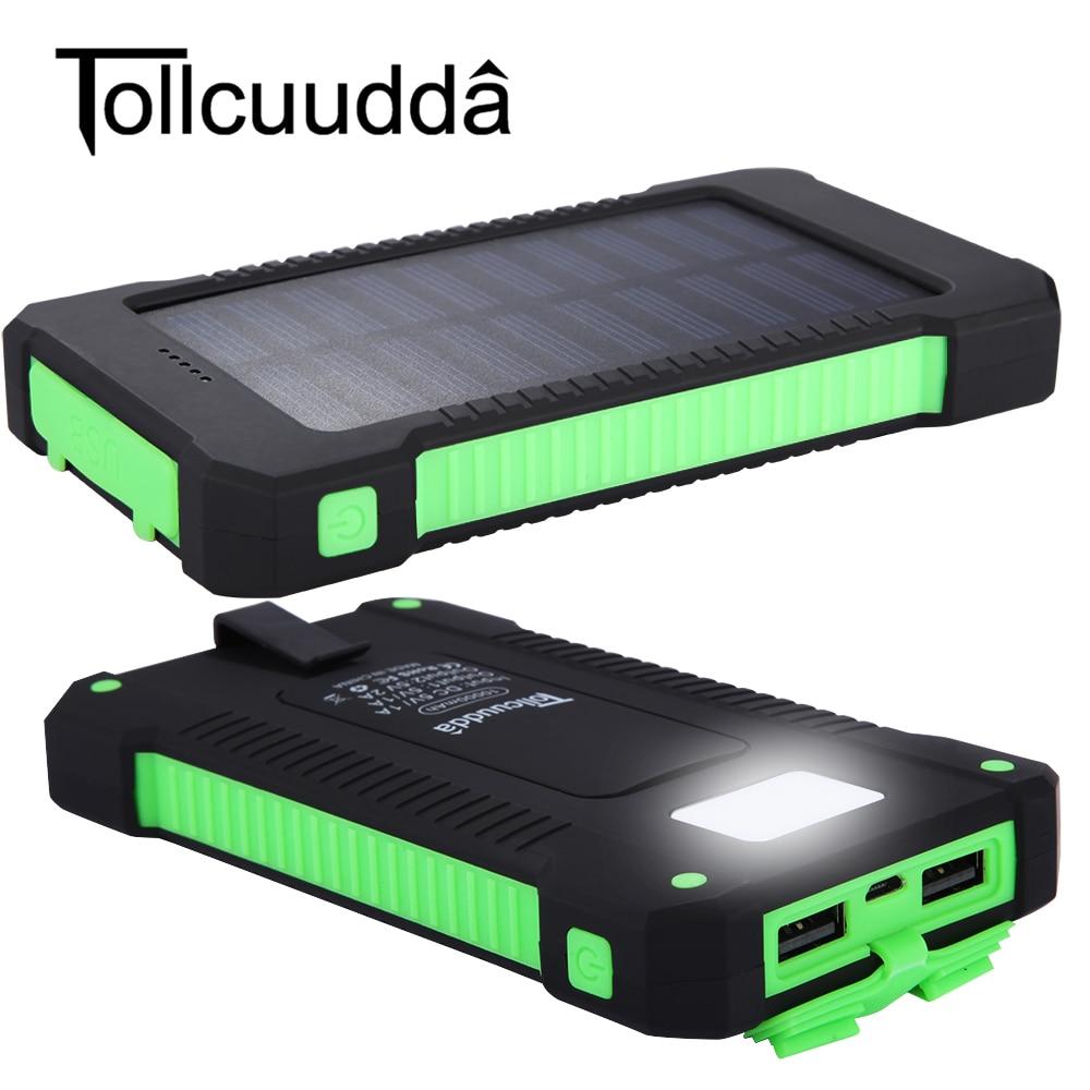 imágenes para Tollcuudda senderismo Recorrido Al Aire Libre 10000 mAh Solar Portátil Cargador de Batería Dual USB Banco de la Energía Impermeable Para Samsung iPhone Teléfono