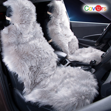 цена COVERS 2 pcs/set Long Faux Fur Seat Cover, Universal Artificial Plush Car Seat Covers, 9 Color Cute Plush Seat Cushion LFFS02