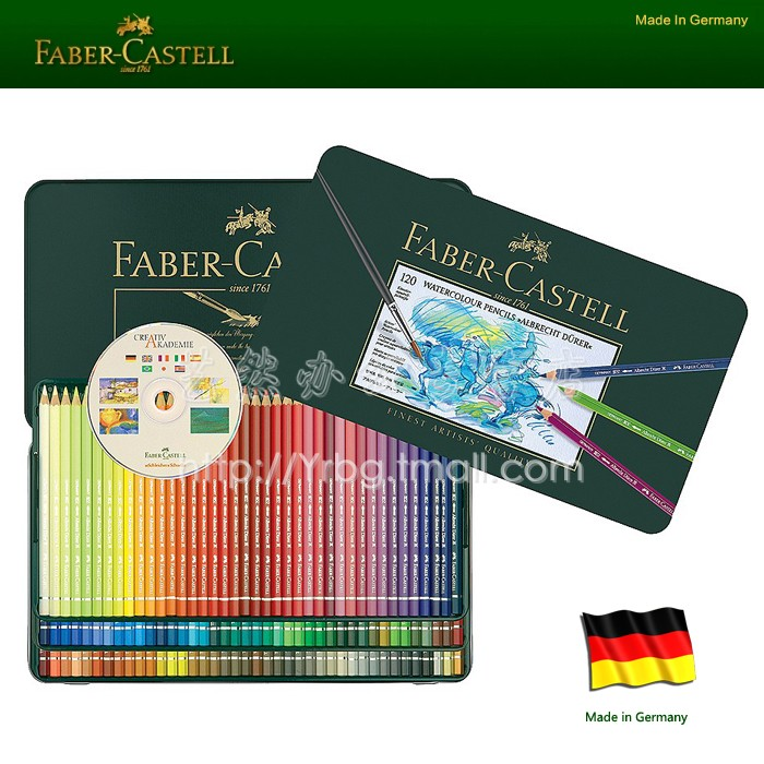 Faber castell green tin advanced water soluble color 12 colors water-soluble colored pencil 12pcs/lot