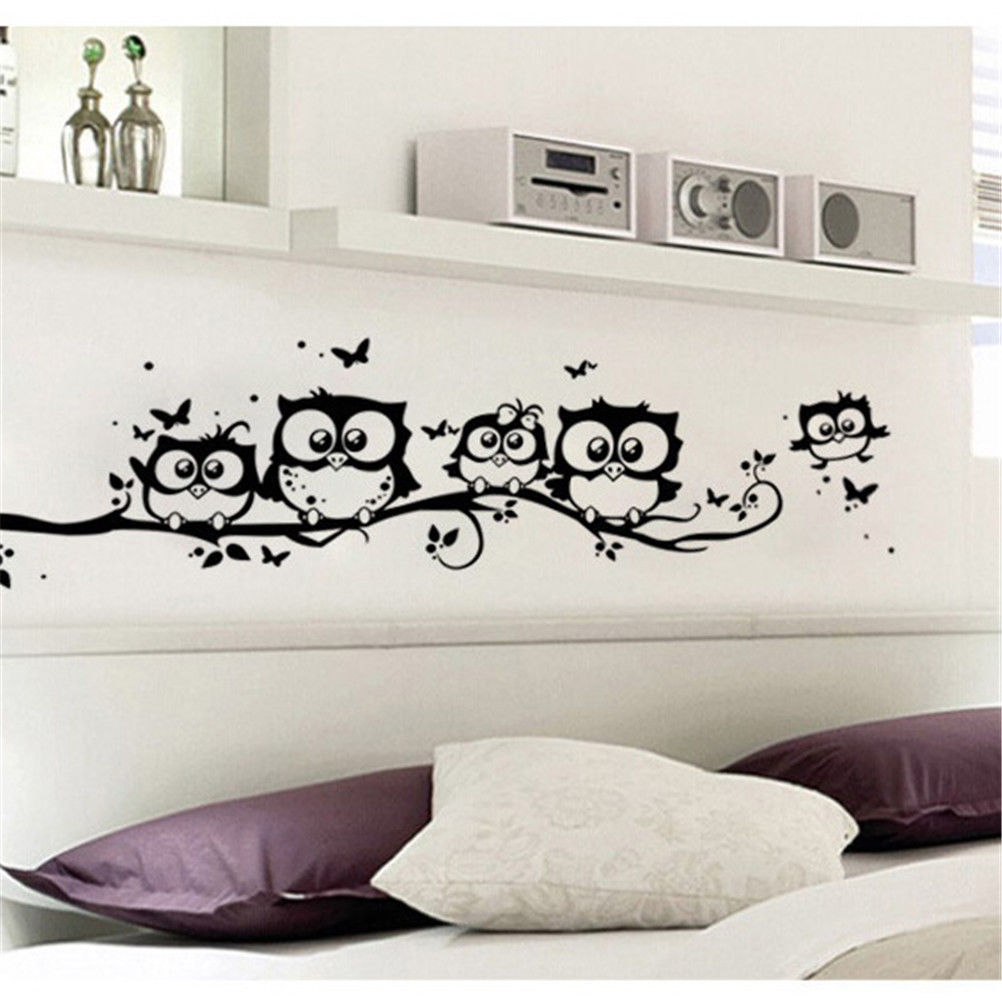 Owls Jungle Animals Wooden Bedroom Furniture Kids: 1PCS Owl Butterfly Wall Sticker Tree Animals Bedroom Home