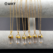 WT-N930 Wholesale Natural Clear Crystal Necklace Unique Design Bullet Shape Crystal With Gold Color Cap Necklace Jewelry