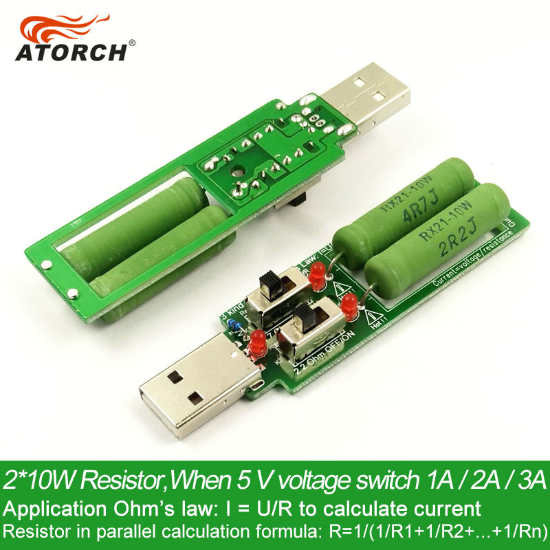 ATORCH USB resistor DC electronic load With switch adjustable 3kind current battery capacity voltage discharge resistance tester 15w usb load usb resistor with fan rd industrial grade electronic load discharge battery test capacity adjustable current