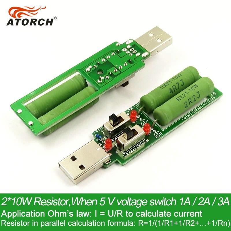 ATORCH resistor USB DC carga eletrônica Com interruptor ajustável 3 tipo capacidade atual da bateria testador de resistência de tensão de descarga
