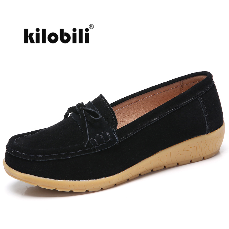 kilobili women   suede     leather   loafers flat shoes women flats ballet black knot slip on casual moccains ladies shoes walking