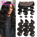 Ear to Ear Lace Frontal Closure With Bundles Peruvian Virgin Hair With Closure Human Hair 3 Bundles With Lace Frontal Closure
