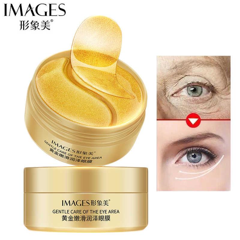 60 adet altın kollajen göz maskesi koyu Dircles kaldırmak kırışıklık göz çantası beyazlatma uyku maskesi nemlendirici göz yamalar göz yüz bakımı