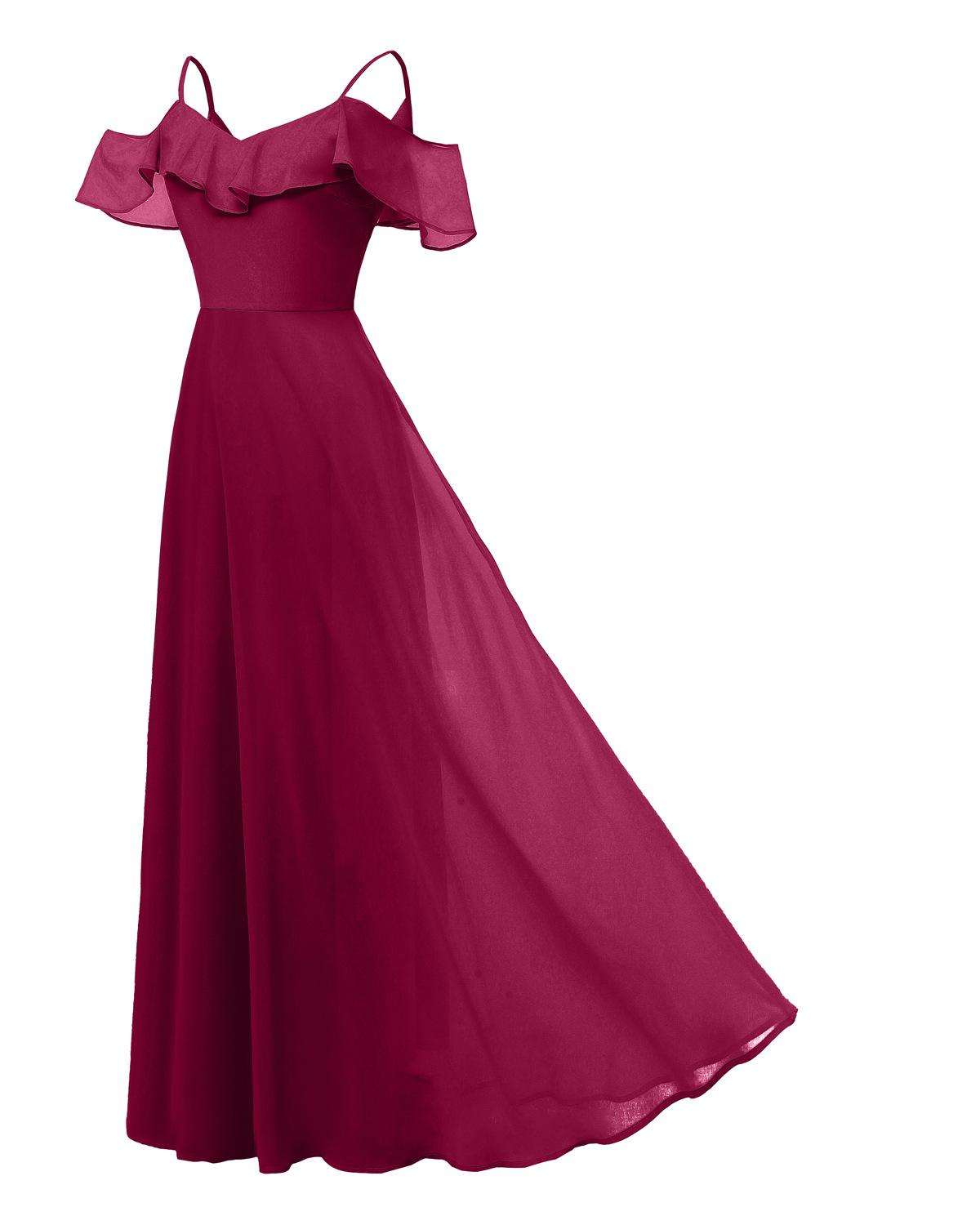 Sexy Off Shoulder Burgundy Robe Chiffon Mermaid Bridesmaid Dresses 2019 Longue Dentelle Navy Blue Wedding Guest Party Gowns