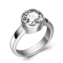 Fashion Stainless Steel Round Crystal Zircon Ring for Women Jewelry Wedding Engagement Rings Accessories engagement rings for women wedding jewelry big crystal stone ring stainless steel jewelry