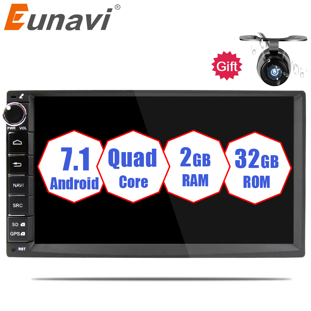 Eunavi 2 din Android 7.1 Car Radio multimedia player 7 inch 2din GPS+Wifi+Bluetooth+Radio+DDR3+Capacitive Touch Screen+3G+audio genuine motorola defy 3 7 capacitive android 2 2 3g wcdma smartphone w wifi a gps black