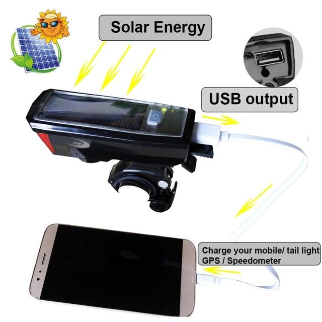 Lumière de bicyclette FTW + cloche + batterie externe + énergie solaire + USB lampe de lumière avant de vélo Rechargeable lanterne de lampe de poche LED de cyclisme