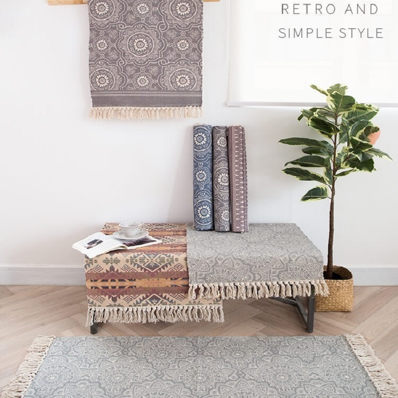 Mediterranean Boho Retro Carpet For Sofa Living Room Window Rug Tassels Manual Woven Printed Mats 60x90 cm Bedspread Tapestry|Carpet| |  - title=