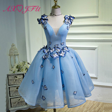 AnXin SH Performance Blue wedding dress short paragraph tutu new summer fashion shoulder wedding dress  stenn sh 340 blue