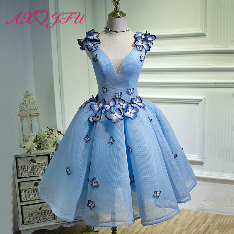 AXJFU Performance Blue   evening     Dresses   fashion v neck beading Butterfly shoulder   evening     dress   boat neck size 18W